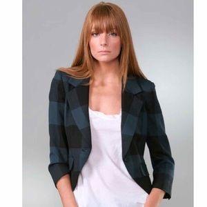 Elizabeth & James Plaid Ivy Shrunken Blazer XS 0